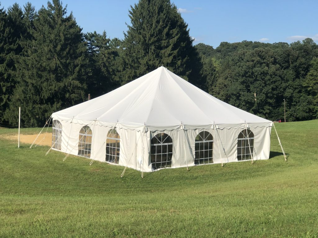 Tent on volleyball court