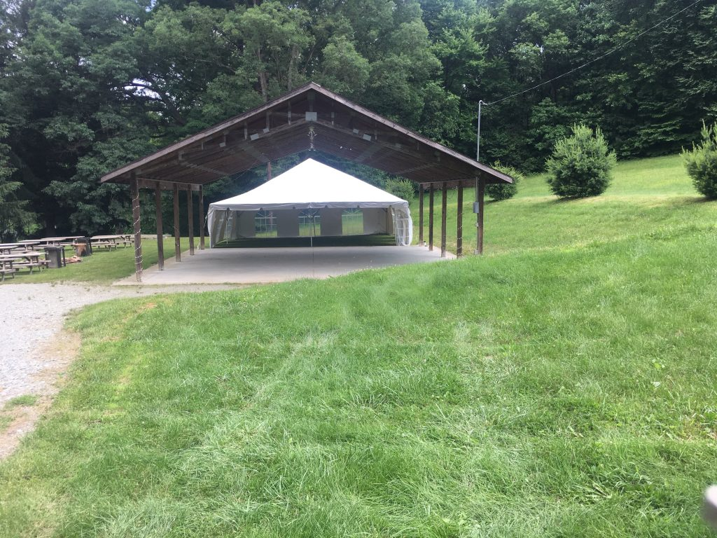 Pavilion with tent undecorated