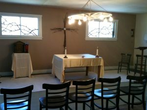 Barn Chapel altar and windows