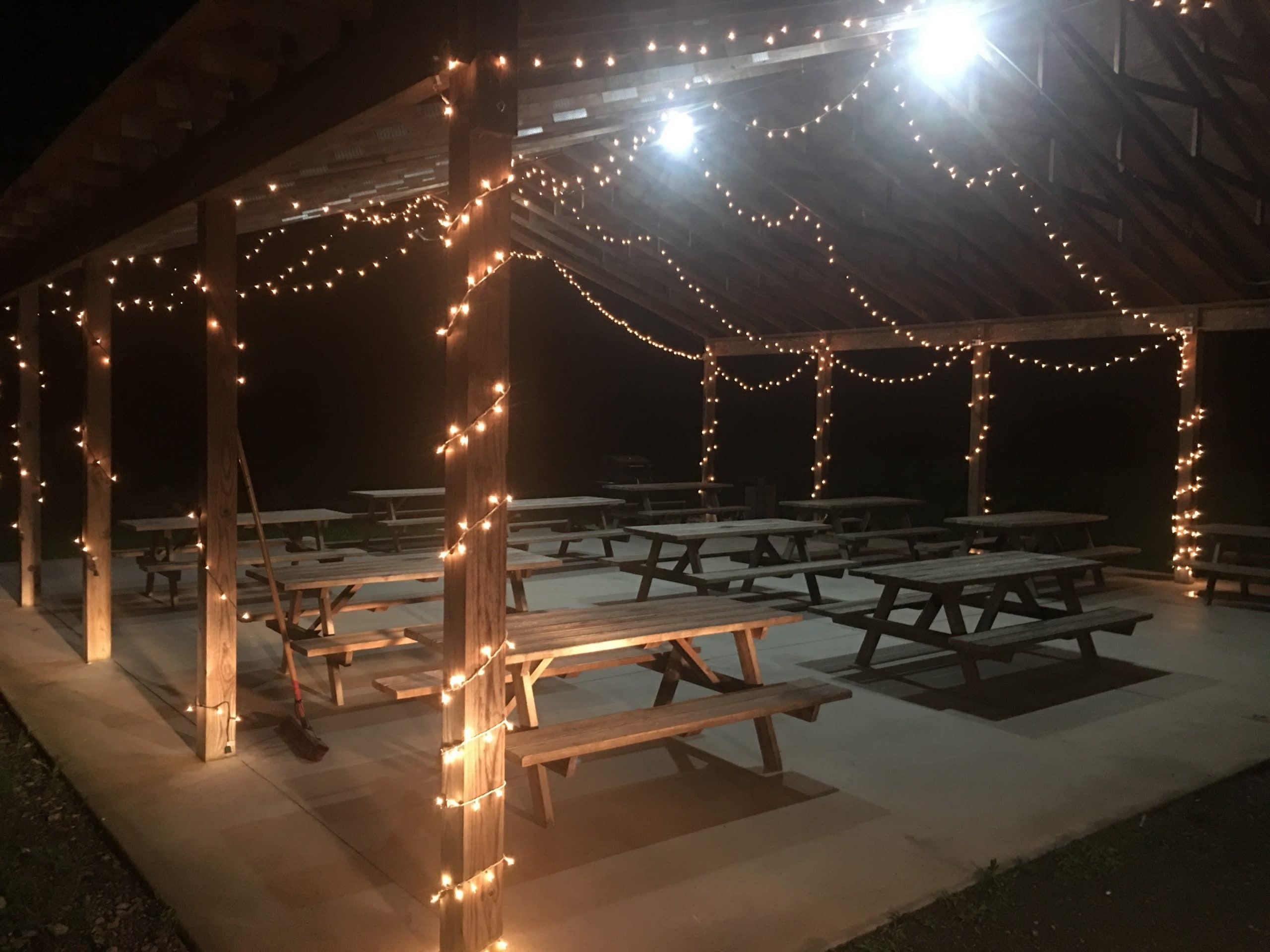 Lighted pavilion with 11 picnic tables